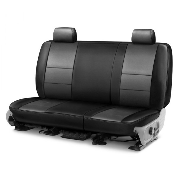 Image may not reflect your exact vehicle! Coverking® - Leatherette 2nd Row Black & Medium Gray Custom Seat Cover