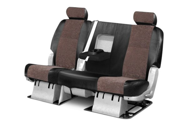 Coverking® - 2nd Row Alcantara Black Leatherette Custom Seat Covers with Beige Suede Inserts