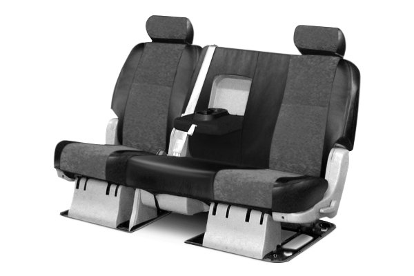 Coverking® - 2nd Row Alcantara Black Leatherette Custom Seat Covers with Charcoal Suede Inserts