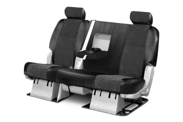 Coverking® - 2nd Row Alcantara Black Leatherette Custom Seat Covers with Black Suede Inserts