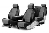Coverking® - Alcantara Black Leatherette Custom Seat Covers with Gray Suede Inserts
