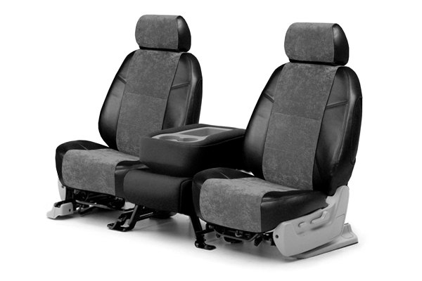 Coverking® - 1st Row Alcantara Black Leatherette Custom Seat Covers with Charcoal Suede Inserts