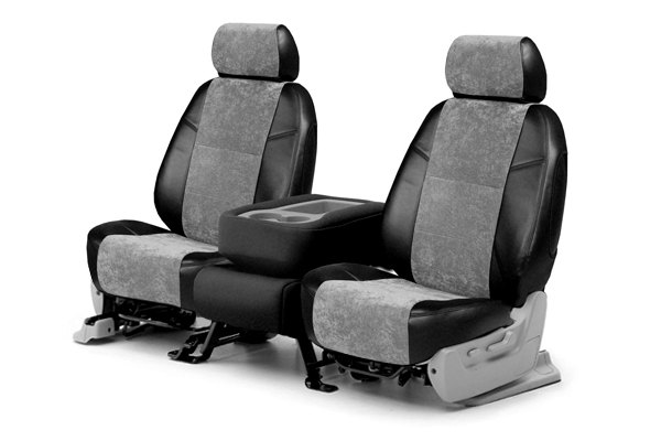 Coverking® - 1st Row Alcantara Black Leatherette Custom Seat Covers with Gray Suede Inserts