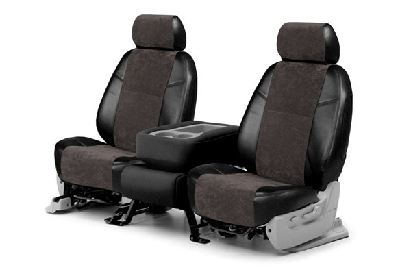 Coverking® - 1st Row Alcantara Black Leatherette Custom Seat Covers with Black Suede Inserts