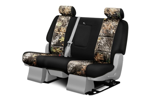 Coverking® - 2nd Row Mossy Oak® Camouflage Custom Break Up Seat Covers with Black Sides
