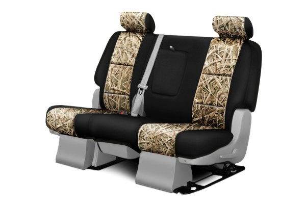 Coverking® - 2nd Row Mossy Oak® Camouflage Custom Shadow Grass Blades Seat Covers with Black Sides