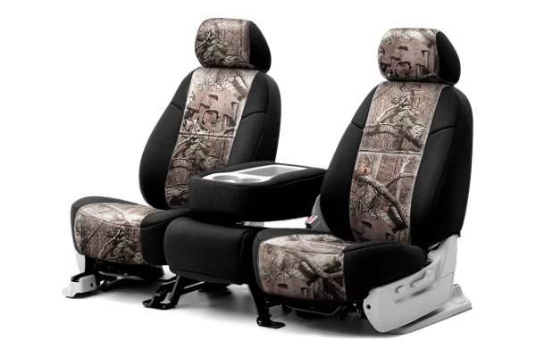 Coverking® - 1st Row Mossy Oak® Camouflage Custom Break Up Infinity Seat Covers with Black Sides