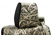 Coverking® - 1st Row Mossy Oak® Camouflage Custom Shadow Grass Blades Seat Covers with Black Sides