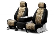 Coverking® CSC2MO07MB9237 - 1st Row Mossy Oak® Camouflage Custom Shadow Grass Blades Seat Covers with Black Sides
