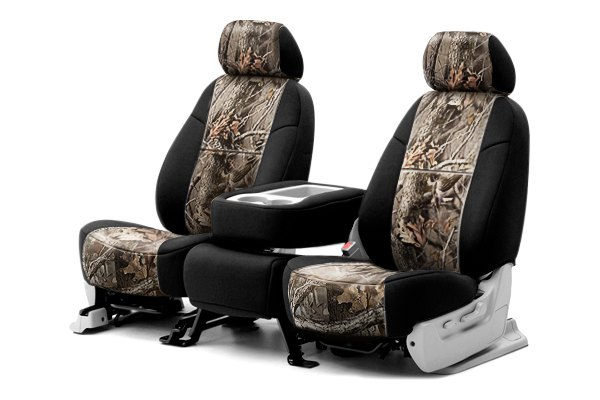 Coverking® - 1st Row RealTree™ Camouflage Custom Hardwoods Seat Covers with Black Sides