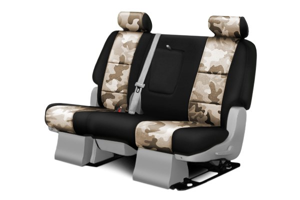 Coverking® - 2nd Row Traditional Camouflage Custom Sand Seat Covers with Black Sides