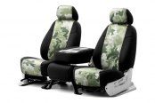 Coverking® - 1st Row Traditional Camouflage Custom Jungle Seat Covers with Black Sides