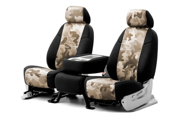 Coverking® - 1st Row Traditional Camouflage Custom Sand Seat Covers with Black Sides