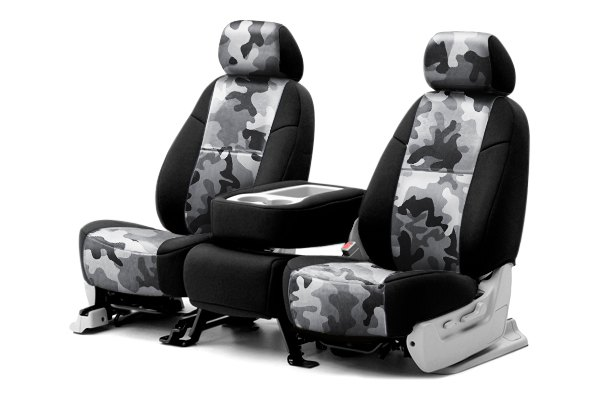 Coverking® - 1st Row Traditional Camouflage Custom Urban Seat Covers with Black Sides