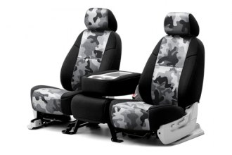 Coverking® CSC2PD12CH7020 - 1st Row Traditional Camouflage Custom Urban Seat Covers with Black Sides