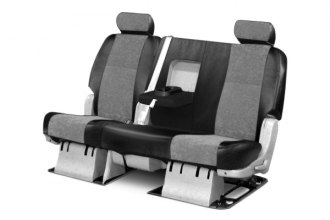 Coverking® - 3rd Row Alcantara Black Leatherette Custom Seat Covers with Gray Suede Inserts