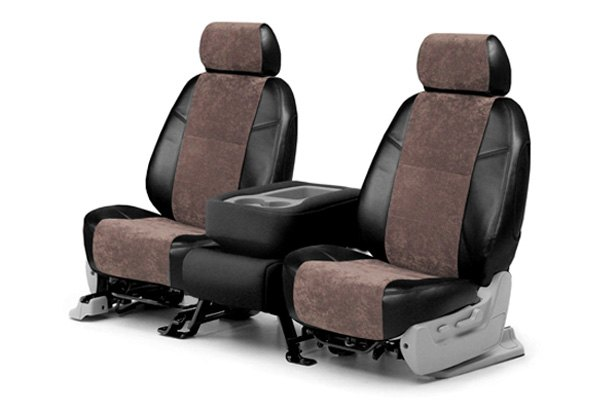 Coverking® - Alcantara Black Leatherette Custom Seat Covers with Beige Suede Inserts