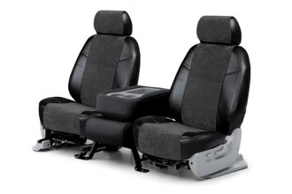 Coverking� - 1st Row Alcantara Black Leatherette Custom Seat Covers with Black Suede Inserts
