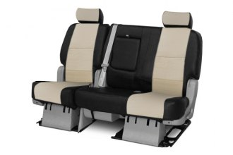 Coverking® - 3rd Row Premium Leatherette Custom Cashmere Seat Covers with Black Sides