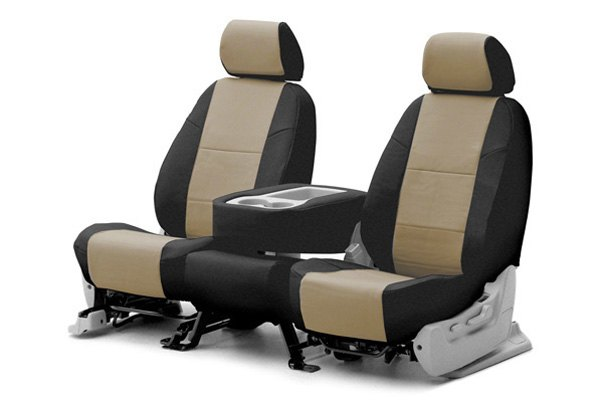 Coverking� - 1st Row Premium Leatherette Custom Taupe Seat Covers with Black Sides