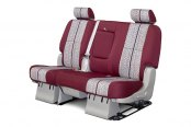 Coverking® - 2nd Row Saddleblanket Custom Wine Seat Covers with Polycotton Wine Sides