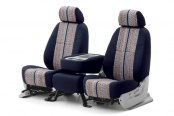 Coverking® - Saddleblanket Custom Dark Blue Seat Covers with Polycotton Navy Blue Sides