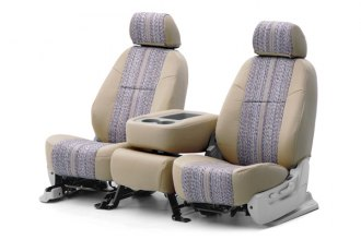Coverking� - 1st Row Saddleblanket Custom Tan Seat Covers with Polycotton Tan Sides