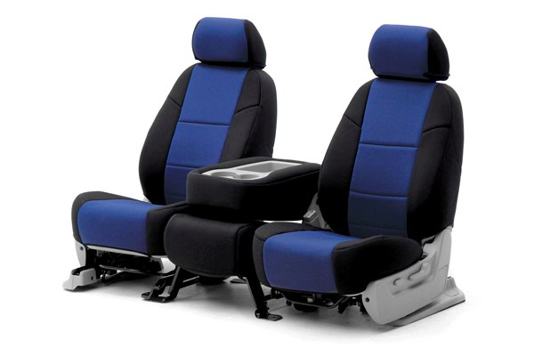 Coverking® - 1st Row CR-Grade Neoprene Custom Blue Seat Covers with Black Sides