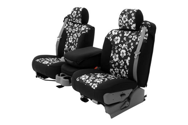 Coverking® - 1st Row CR-Grade Neoprene Custom Hawaiian Black Seat Covers with Black Sides