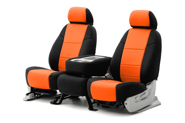 Coverking® - 1st Row CR-Grade Neoprene Custom Inferno Orange Seat Covers with Black Sides