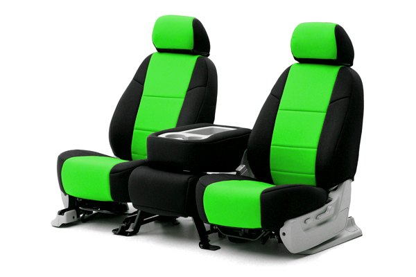 Coverking® - 1st Row CR-Grade Neoprene Custom Synergy Green Seat Covers with Black Sides