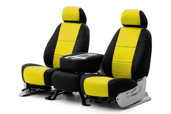 Coverking® - 1st Row CR-Grade Neoprene Custom Yellow Seat Covers with Black Sides