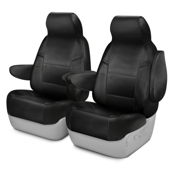 Coverking® - Genuine Leather 1st Row Black Custom Seat Covers