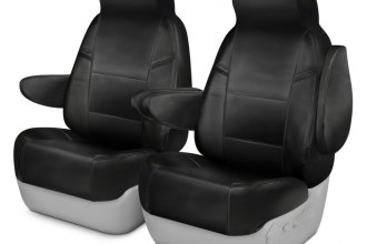 Coverking® CSC1L1IN7025 - Genuine Leather 1st Row Black Custom Seat Covers