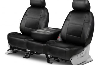 Coverking® CSC1L1MD7036 - Genuine Leather 2nd Row Black Custom Seat Covers