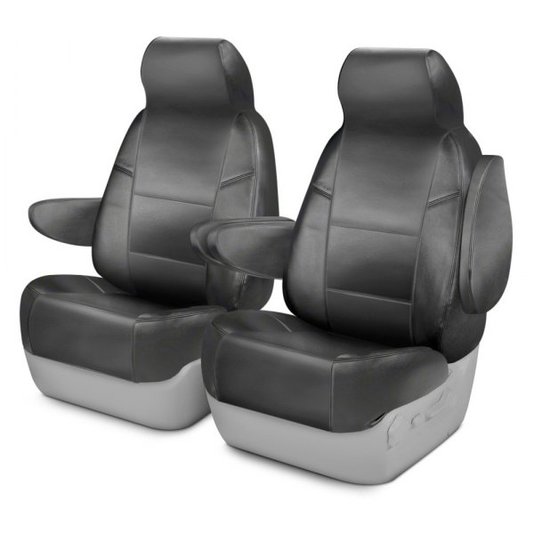 Coverking® - Genuine Leather 1st Row Gray Custom Seat Covers