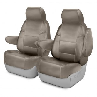 Coverking® - Genuine Leather 1st Row Beige Custom Seat Covers