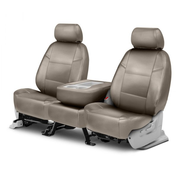 Coverking® - Genuine Leather 2nd Row Beige Custom Seat Covers