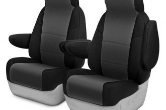 Coverking® - Neosupreme 1st Row Black & Charcoal Custom Seat Covers