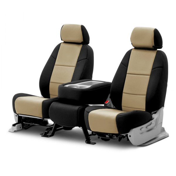 Coverking® - Neosupreme 2nd Row Black & Tan Custom Seat Covers