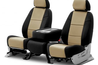 Coverking® CSC2A5CH8010 - Neosupreme 2nd Row Black & Tan Custom Seat Covers