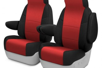 Coverking® CSC2A7CH7461 - Neosupreme 1st Row Black & Red Custom Seat Covers