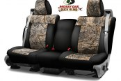 Image may not reflect your exact vehicle! Coverking® - Mossy Oak™ 2nd Row Camo 2-Tone Duck Blind Custom Seat Covers