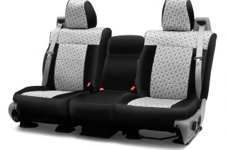 Coverking® CSC2PD02CH8010 - Designer Printed Neosupreme 2nd Row 2-Tone Chrome Diamond Custom Seat Covers