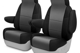 Coverking® CSC2S3SR7057 - Spacer Mesh 1st Row 2-Tone Black & Gray Custom Seat Covers