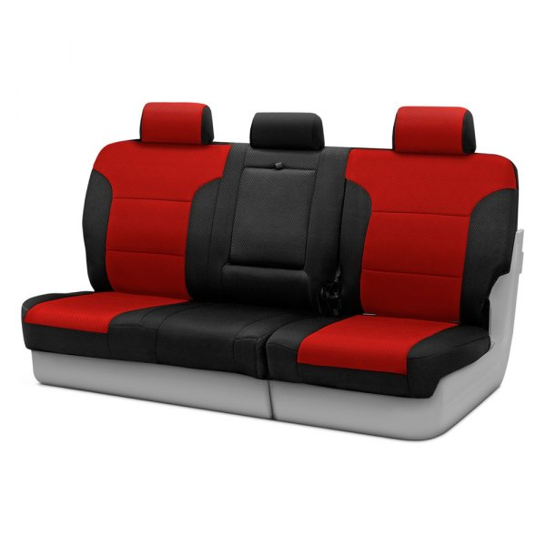 Coverking® - Spacer Mesh 3rd Row Black & Red Custom Seat Covers