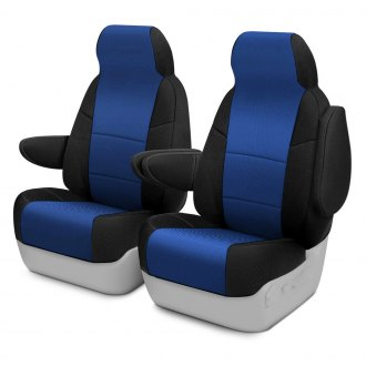 Coverking® - Spacer Mesh 1st Row 2-Tone Black & Blue Custom Seat Covers