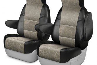Coverking® CSCAT0FD8045 - Alcantara 1st Row Black & Beige Custom Seat Covers