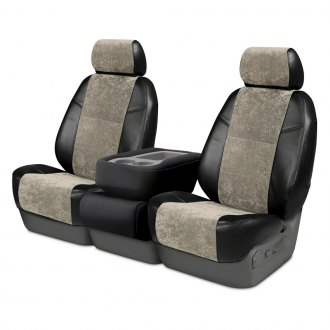 Coverking® - Alcantara 2nd Row Black & Beige Custom Seat Covers