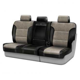 Coverking® - Alcantara 3rd Row Black & Beige Custom Seat Covers